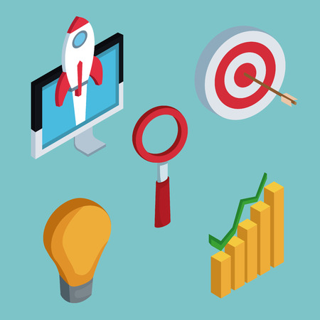 Isometric business icons icon vector illustration graphic design