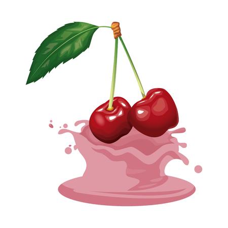 Cherries and cream icon vector illustration graphic design. Illustration
