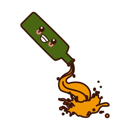 Botttle splashing beer cute kawaii cartoon vector illustration icon