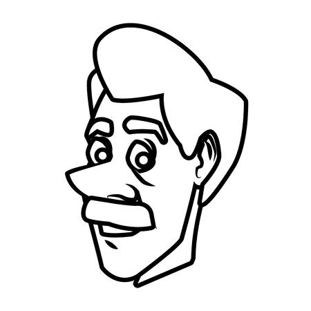 Adult man face cartoon icon vector illustration graphic design