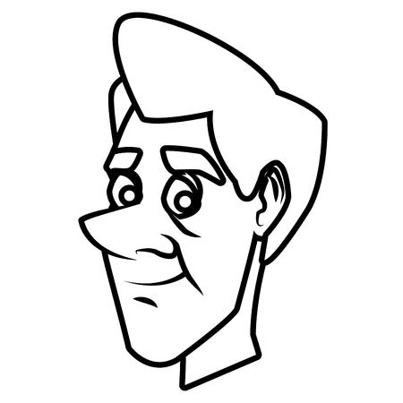 Adult man face cartoon icon illustration.