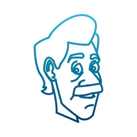 Adult man face cartoon icon.