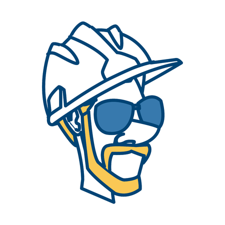 Worker face with helmet cartoon icon.