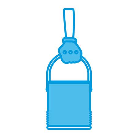 Hand holding paint bucket icon vector illustration graphic design Illustration