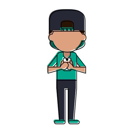 man avatar using cellphone icon image vector illustration design Illustration