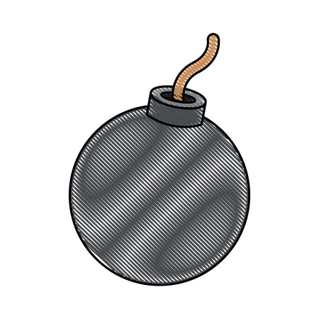 Round bomb icon. Illustration