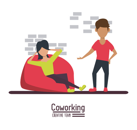 associates: Business co-working office icon. Illustration
