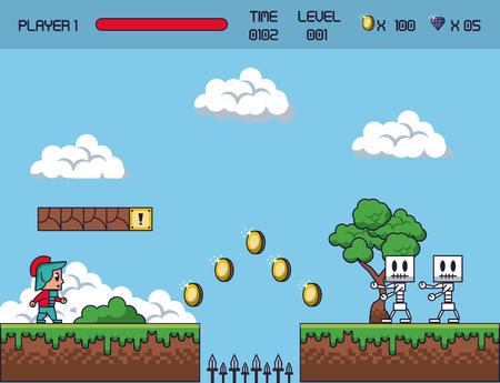 Ícones de cenário de jogo Pixelated. Ilustración de vector