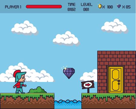 ピクセル ゲーム風景アイコン。  イラスト・ベクター素材