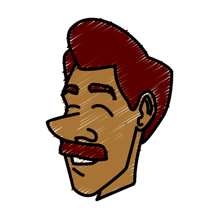 Adult man face icon.