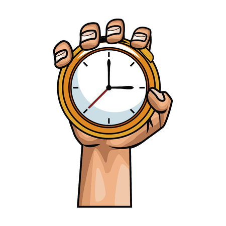 Hand with pocket clock pop art icon vector illustration, graphic design. Ilustrace