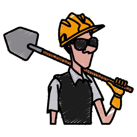 Cartoon worker with tool icon vector illustration, graphic design.