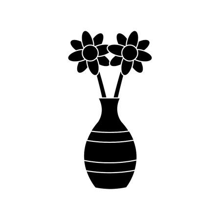 꽃병 아이콘 벡터 일러스트 그래픽 디자인에 꽃