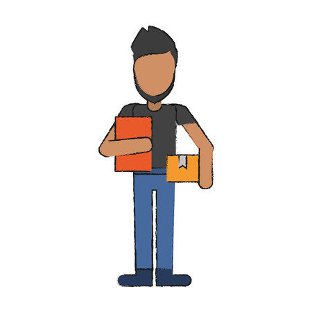 Courier avatar full body icon vector illustration graphc design
