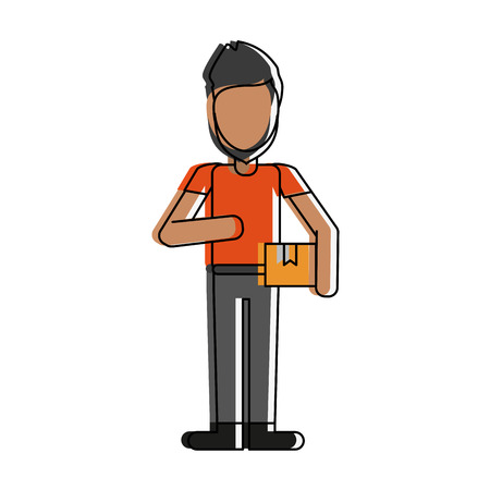 Courier avatar full body icon vector illustration, graphic design.