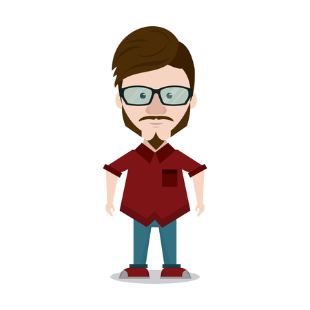 Hipster man cartoon icon vector illustration graphic design Illustration
