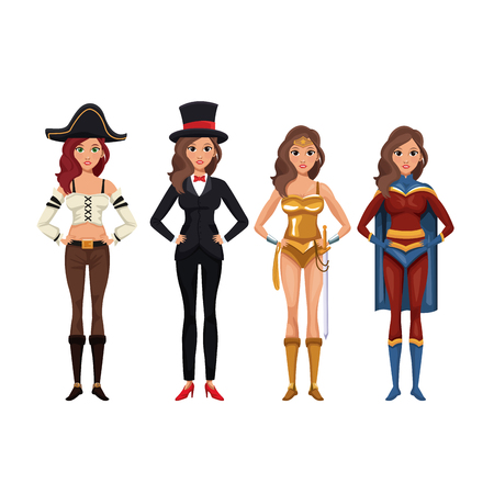 Frauen cosplay Artikonenvektor-Illustrationsgrafikdesign Standard-Bild - 89258867