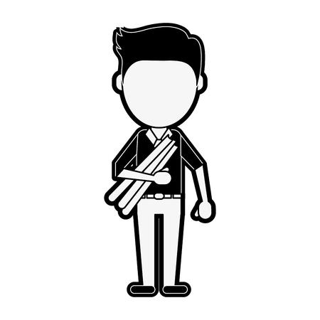 Architect faceless avatar icon vector illustration graphic design Illustration