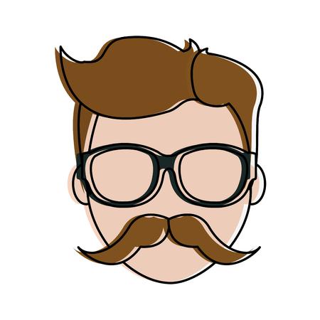 Man faceless cartoon icon Illustration