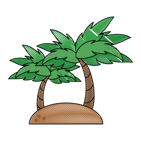Beach and palms icon vector illustration graphic design
