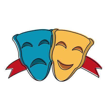 Theater masks symbol icon vector illustration graphic design