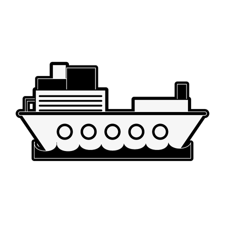 Freighter ship boat icon vector illustration graphic design.