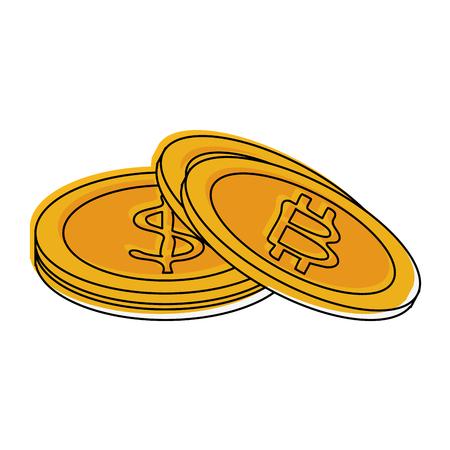 Bitcoins virtual money exchange icon vector illustration graphic design