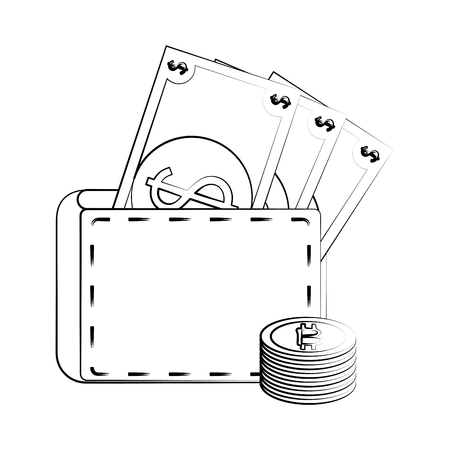 Wallet with money icon vector illustration graphic design Illustration
