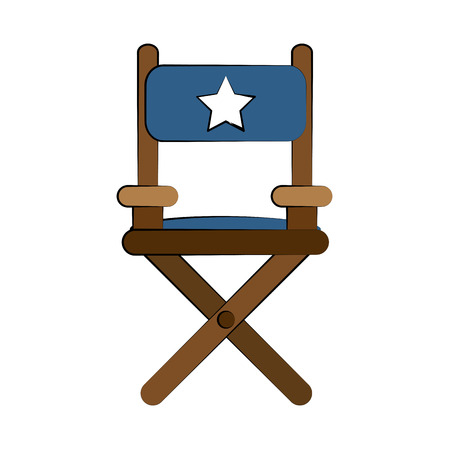 director chair: Director wooden chair icon vector illustration graphic design