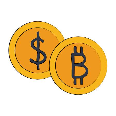 Bitcoin virtual money exchange icon vector illustration graphic design Illustration