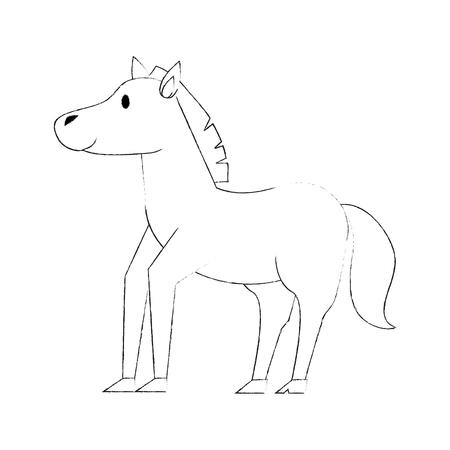 Cute horse cartoon icon vector illustration graphic design Illustration