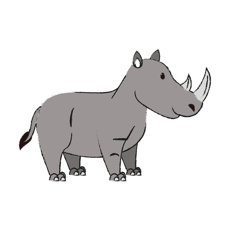 Cute rhino cartoon icon vector illustration graphic design Illustration