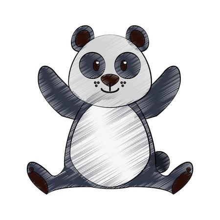 Cute panda bear cartoon icon vector illustration graphic design