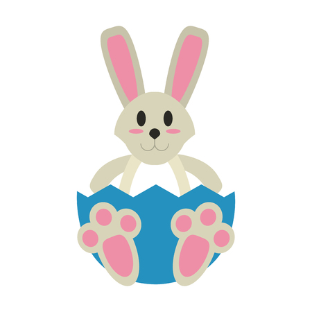 broken eggs: Cute bunny cartoon icon vector illustration graphic design Illustration