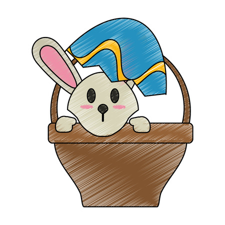 Bunny and easter eggs icon vector illustration graphic design