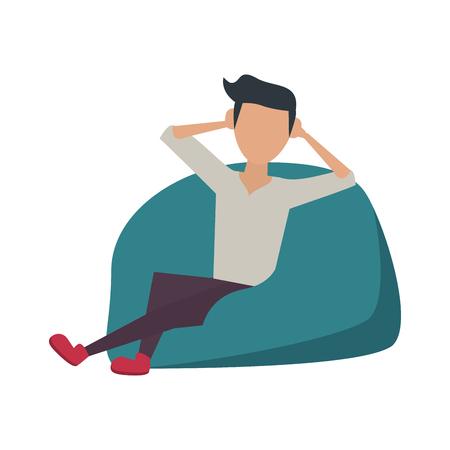 Young man sitting on bean bag icon vector illustration, graphic design. Illustration