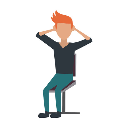 Young man sitting on chair icon vector illustration, graphic design.