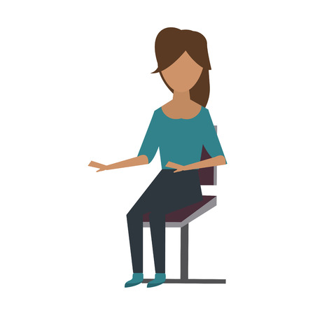 Young woman sitting on chair icon vector illustration, graphic design.
