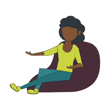 Young woman sitting on bean bag icon vector illustration graphic design
