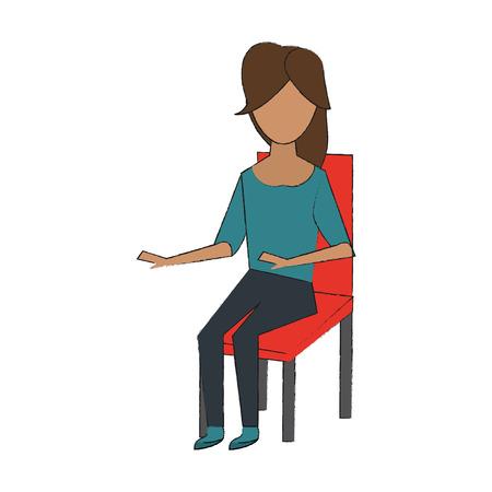 Young woman sitting on chair icon vector illustration Illusztráció