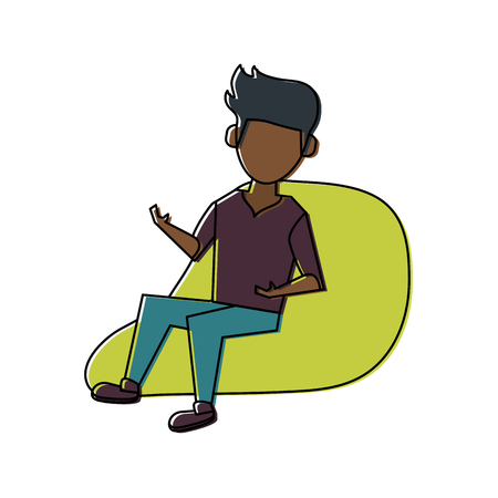 Young man sitting on bean bag icon vector illustration graphic design