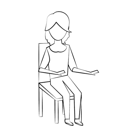 Young woman sitting on chair icon vector illustration graphic design