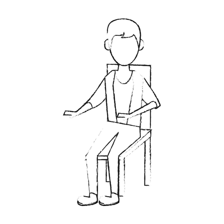 Young man sitting on chair icon vector illustration graphic design