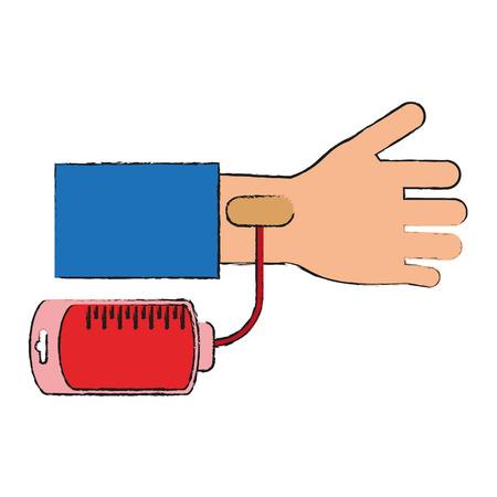 blood transfer: Blood bag donation Icon vector illustration graphic design