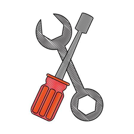 Clé et tournevis outils icône vector illustration graphisme