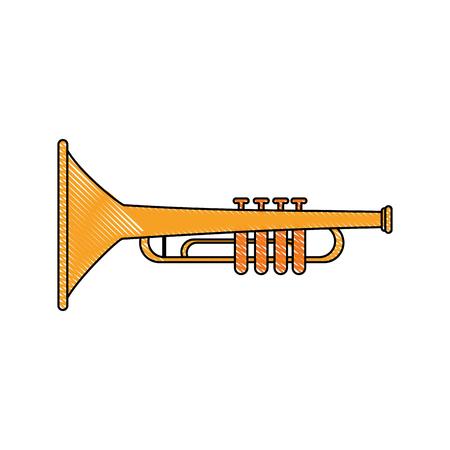 cornet: Trumpet music instrument icon vector illustration graphic design
