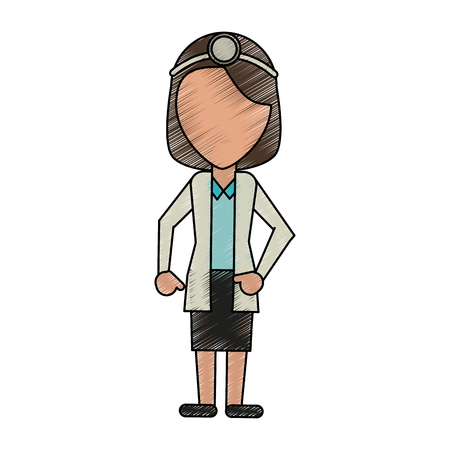Female doctor faceless avatar icon vector illustration graphic design Illustration