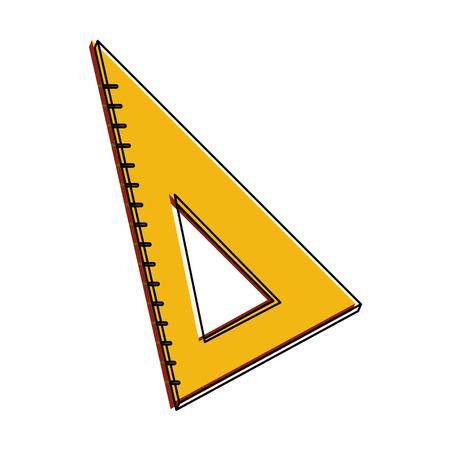 School triangle ruler icon illustration.