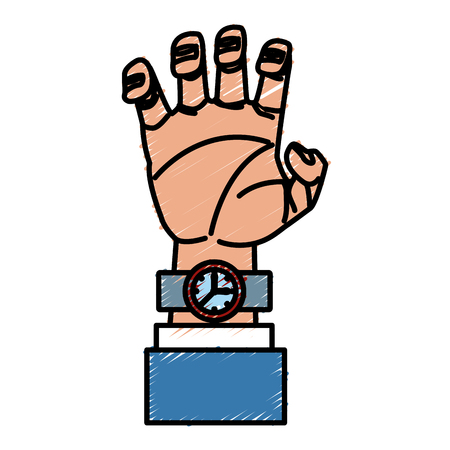 Arm with wristwatch icon vector illustration graphic design Illustration