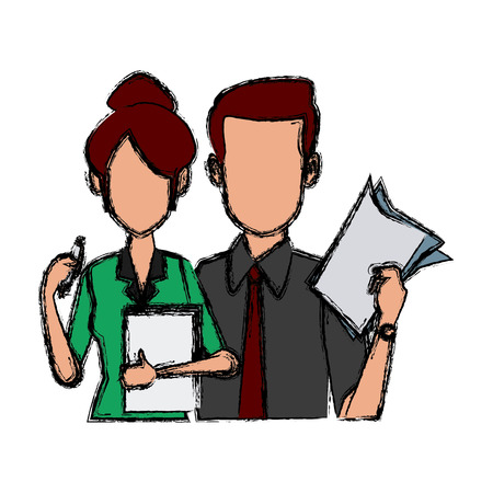 Business couple teamwork icon vector illustration graphic design